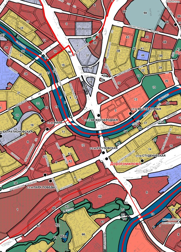 территориальные зоны на карте градостроительного зонирования